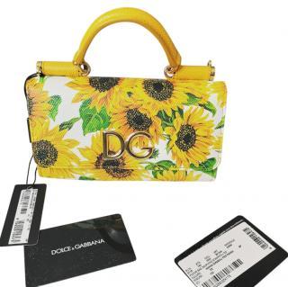 Dolce & Gabbana Dauphine Leather Sunflower Sicily Von Bag