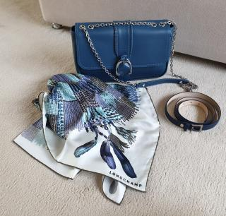 Longchamp Blue Masai Inspired Silk Scarf