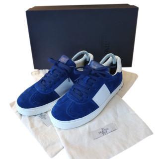 Valentino Suede Blue Roy Rockstud Sneakers