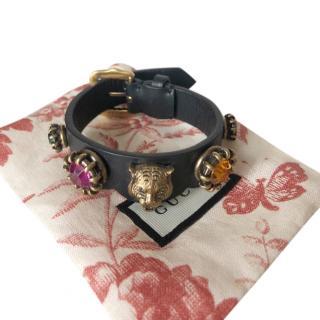 Gucci Crystal Embellished Tiger Head Leather Bracelet
