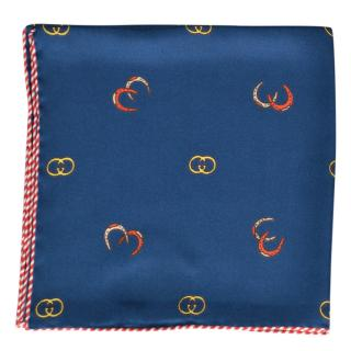Gucci Blue Logo Print Silk Pocket Sqaure