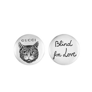 GUCCI Blind for Love cat-engraved sterling silver earrings