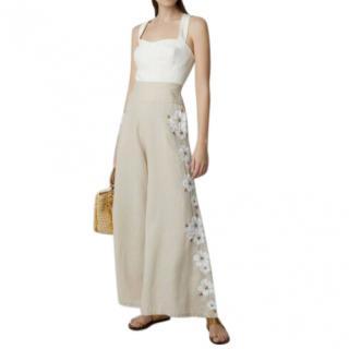 Mochi Beige Linen Wide Leg Embroidered Pants