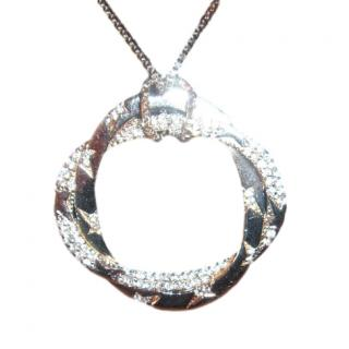 Thierry Mugler Silver Tone Crystal Embellished Round Pendant Necklace