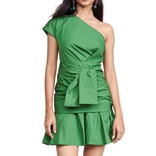 Derek Lam 10 Crosby Green Pleated One Shoulder Mini Dress