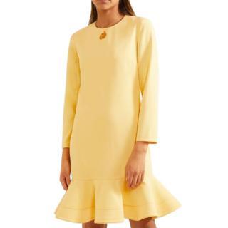 Victoria Victoria Beckham Yellow Ruffled Crepe Mini Dress