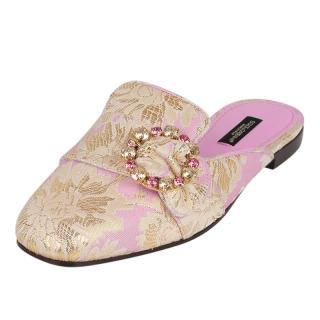 Dolce & Gabbana Pink & Gold Brocade Slippers
