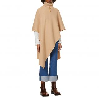 Chloe Camel Cashmere Roll Neck Poncho