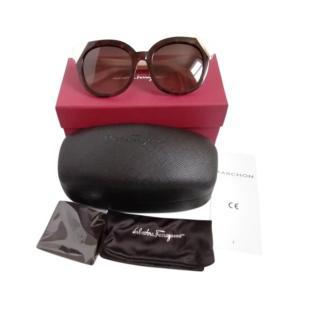 Ferragamo White/Tortoiseshell Cat-Eye Sunglasses