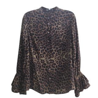 Lily and Lionel leopard print ruffle cuff blouse