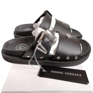 Young Versace Black Leather Logo Sandals