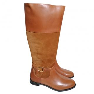 Lauren Ralph Lauren Tan Suede & Leather Boots