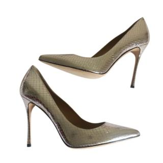 Sergio Rossi Silver Snake Print Leather Pumps