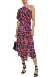 Derek Lam 10 Crosby One-shoulder floral stretch-jersey midi dress
