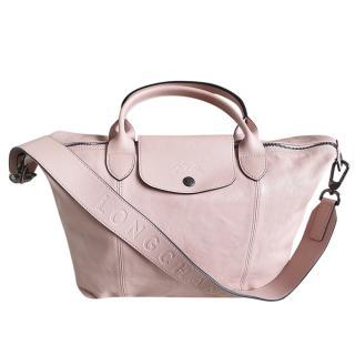 Longchamp Pale Pink Lambskin Le Pliage Tote