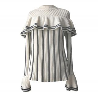 Self Portrait Striped Knit Ruffle Jumper