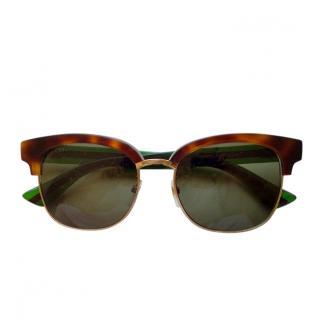 Gucci Tortoiseshell Web Stripe Sunglasses