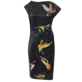 Alexander McQueen Black Draped Hummingbird Print Silk Dress