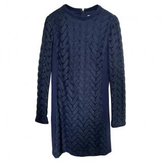 DVF Navy Blue Fitted Lace Dress