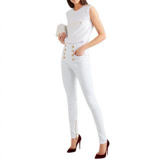 Balmain White Sailor Button Skinny Jeans