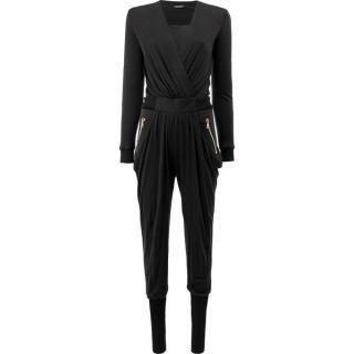 Balmain Black Draped Jersey Jumpsuit