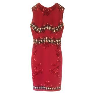 Giambattista Valli Houndstooth Detailed Red Embroidered Dress