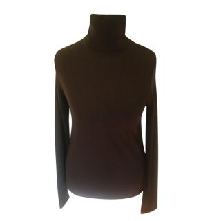 Hermes Cashmere & Silk Polo Neck Knit Top