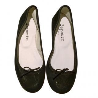 Repetto Black Glitter Suede Ballerina Flats