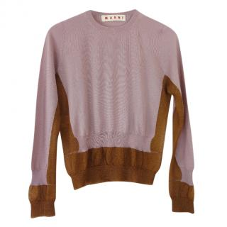 Marni Two Tone Lurex Knit Cashmere Sweater