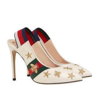 Gucci embroidered leather Web slingback pumps