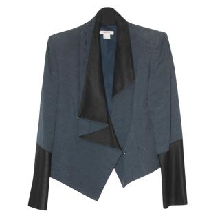 Helmut Lang Teal Draped Leather Trim Jacket