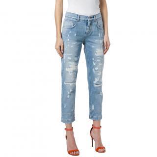 Dolce & Gabbana Distressed Embellished Ankle Crop Jeans