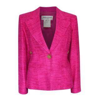 Yves Saint Laurent Vintage Pink Boucle Blazer
