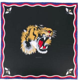 Gucci Web Trim Bee & Tiger Silk Scarf