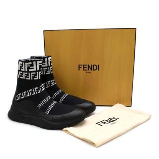 Fendi Black & White FF Stretch Knit Trainers
