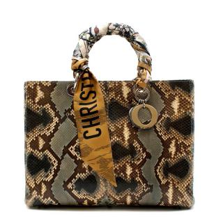 Dior Green Python Large Lady Dior Bag with Two Silk Twilly