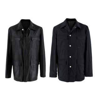 Hermes Black Lambskin and Nylon Reversible Jacket