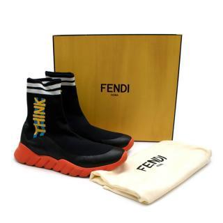 Fendi Think Fendi Black High-Top Sock Trainers