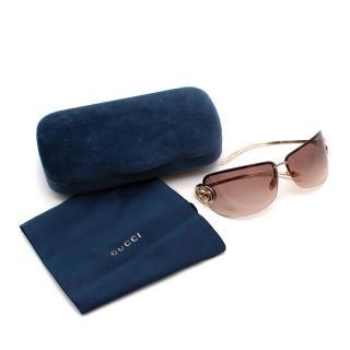 Gucci Gold Tone GG Vintage Sunglasses