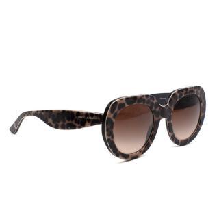 Dolce & Gabanna Leopard Print Round Frame Sunglasses