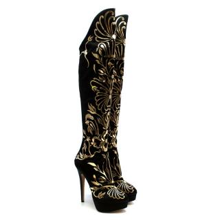 Charlotte Olympia Prosperity Black & Gold Knee High Boots