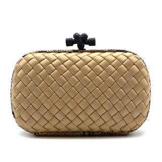 Bottega Veneta Gold Pochette Knot Silk Woven Clutch