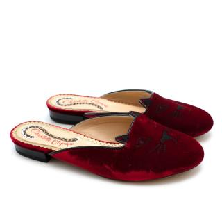 Charlotte Olympia Red Velvet Kitty Slippers - SIZE 34