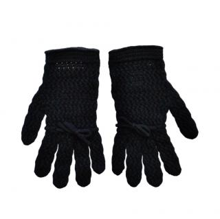 Gucci Black Wool Open Knit Gloves