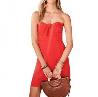 Sezane Red Ondine Strapless Mini Dress