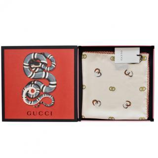 Gucci GG Horseshoe Print Silk Pocket Square / Neck Scarf