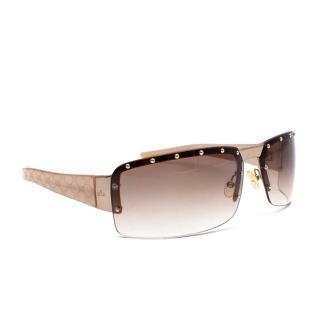 Gucci Beige & Gold Studded GG Vintage Sunglasses