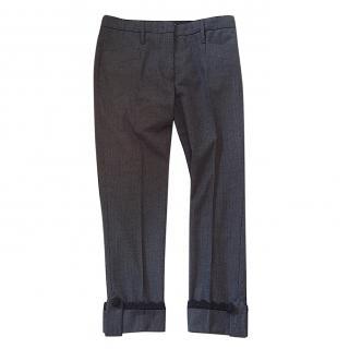 Prada grey cropped wool lace trim pants