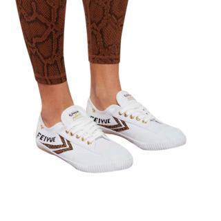 Feiyue White Cheetah Fe Lo Classic Canvas Poppy Trainers