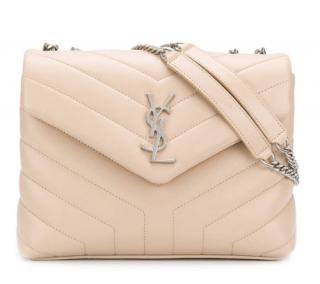 Saint Laurent Pale Beige Leather Small Loulou Chain Bag